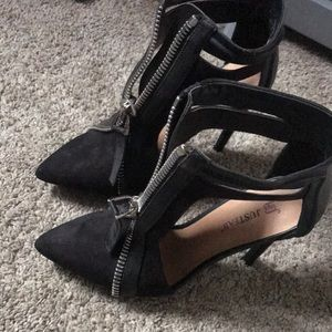 Just Fab black suede zipper heels (never worn)